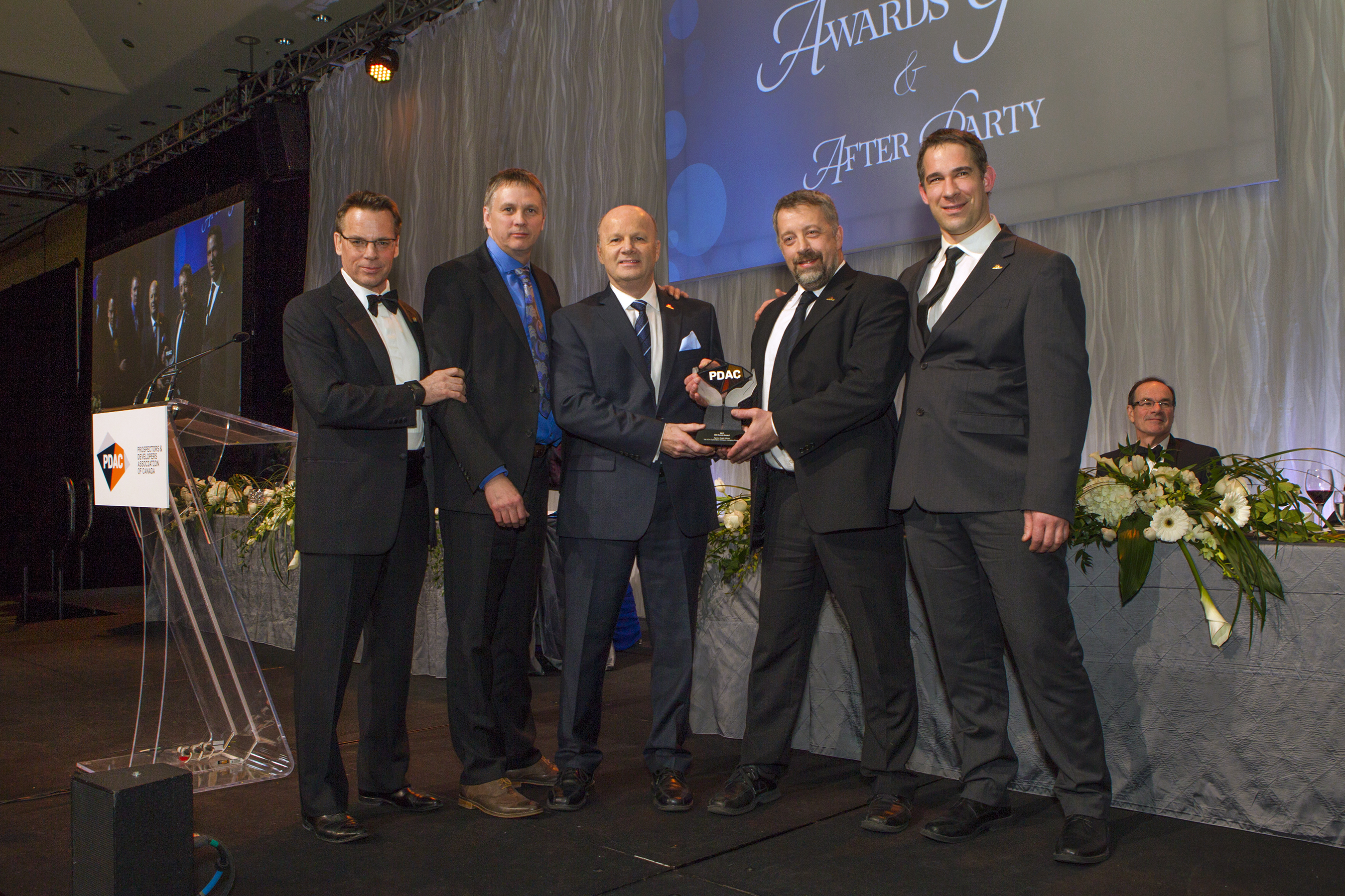 Bill Dennis Award recipients, Val d'Or Exploration Division, Agnico Eagle Mines Limited & Glenn Mullan, PDAC President