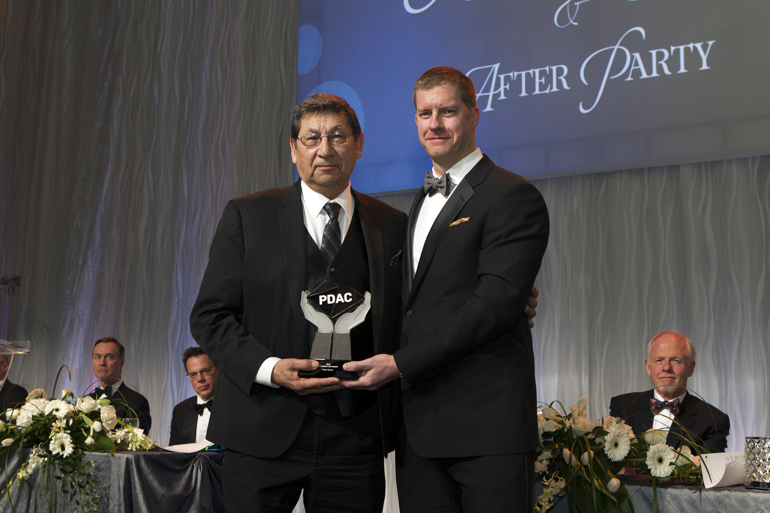 Skookum Jim Award recipient, Peter Moses & James Siddorn, Chair, Convention Planning Committee, SRK Consulting (Canada) Inc.